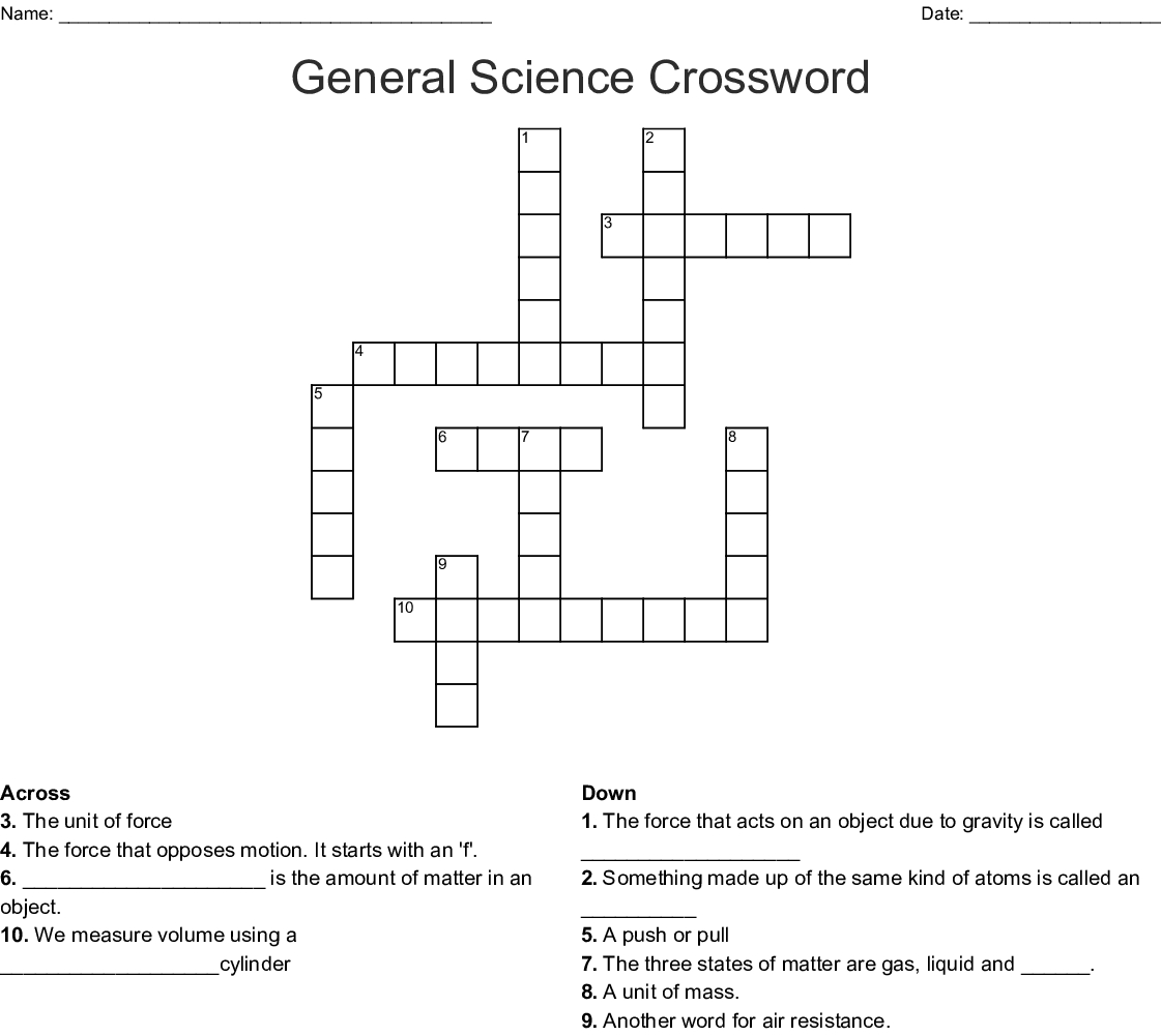 General Science Crossword - Wordmint - Science Crossword Puzzles Printable