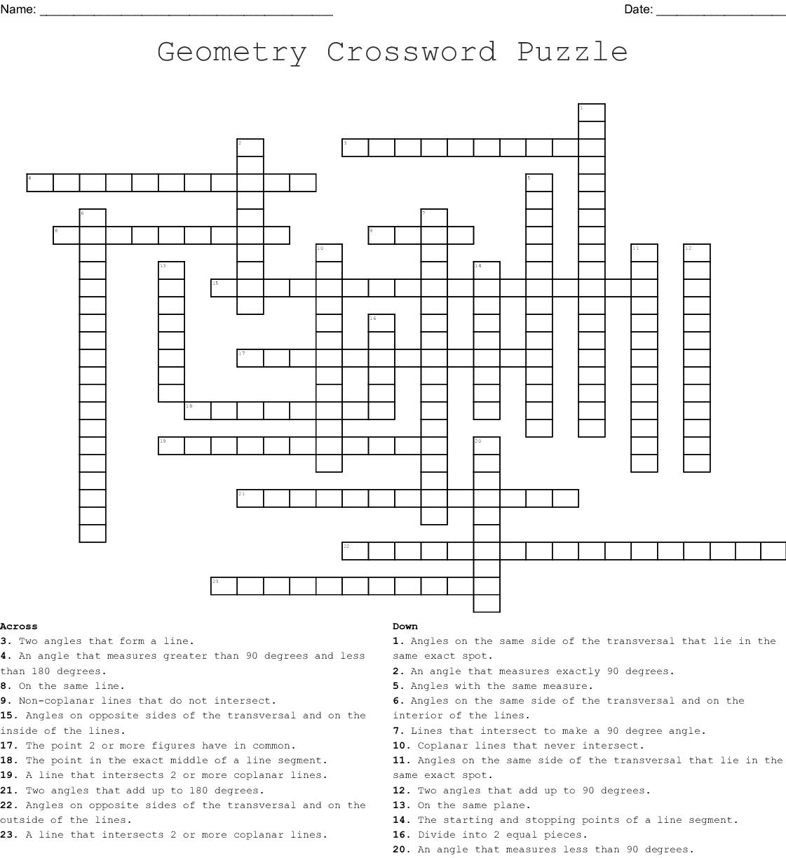 Geometry Crossword Puzzle - Yapis.sticken.co - Geometry Vocabulary Crossword Puzzle Printable