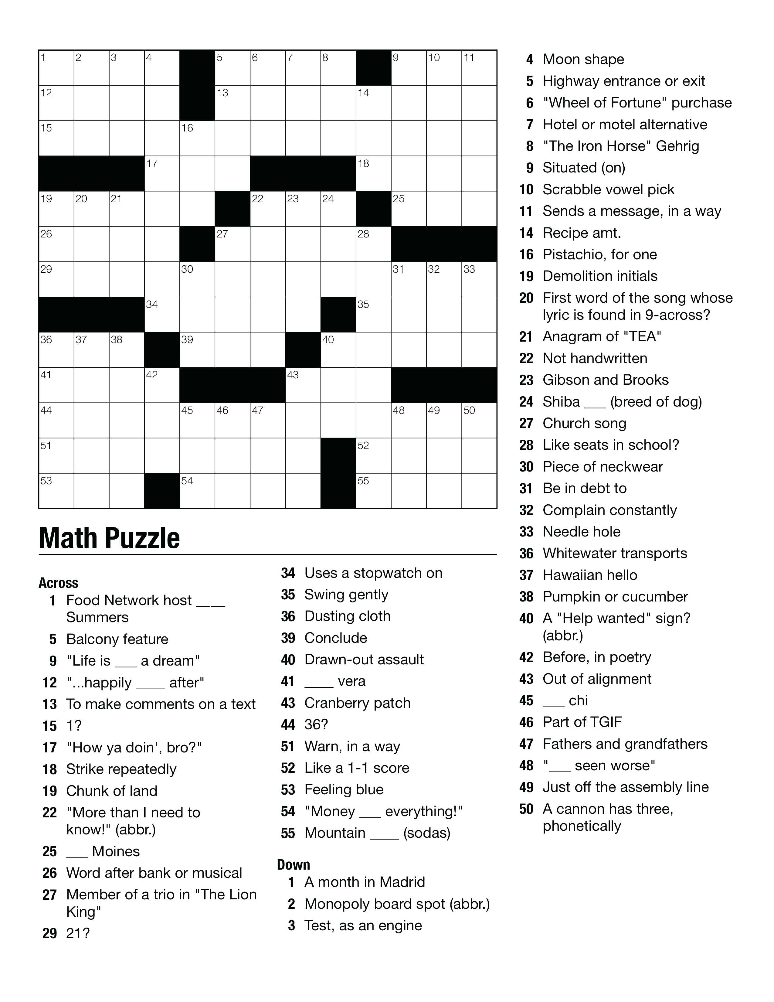 Geometry Puzzles Math – Upskill.club - Printable Crossword Puzzle For Middle School
