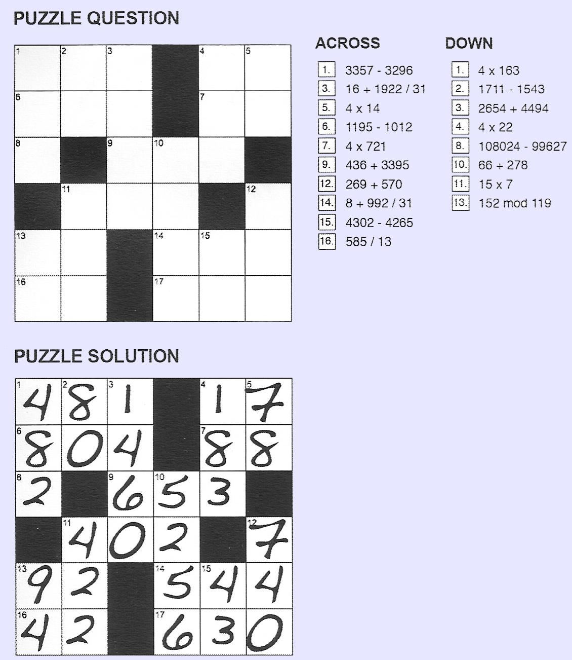 Giulio Zambon - Printable Cross Number Puzzle