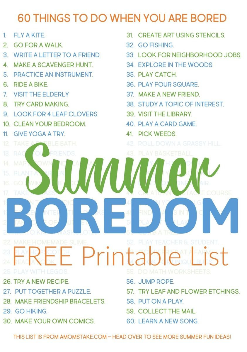 Grab This Printable List Of 60 Things To Do When You're Bored. When - Printable Puzzles To Do When Bored