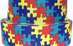 "Grosgrain Ribbon 5/8"", 7/8"",1.5"" Or 3"" In Autism Awareness Puzzle   Puzzle Print Ribbon"