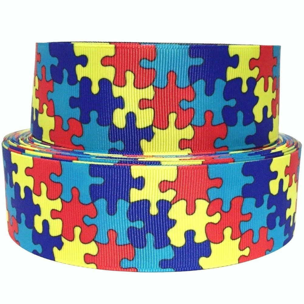 "Grosgrain Ribbon 5/8"", 7/8"",1.5"" Or 3"" In Autism Awareness Puzzle - Puzzle Print Ribbon"