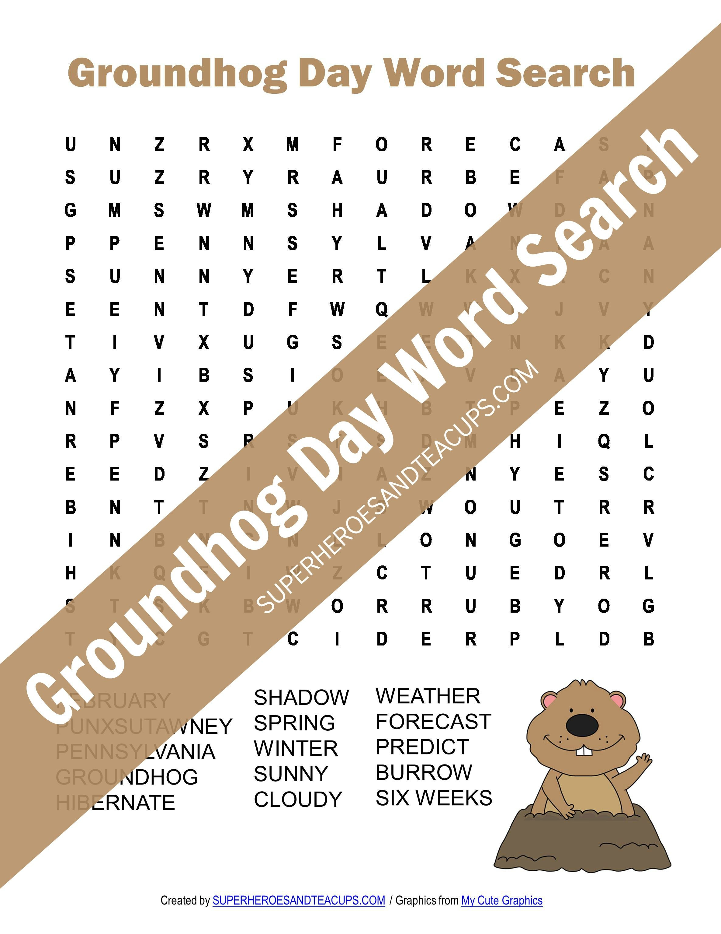 Groundhog Day Word Search Free Printable | Superheroes And Teacups - Groundhog Day Crossword Puzzles Printable