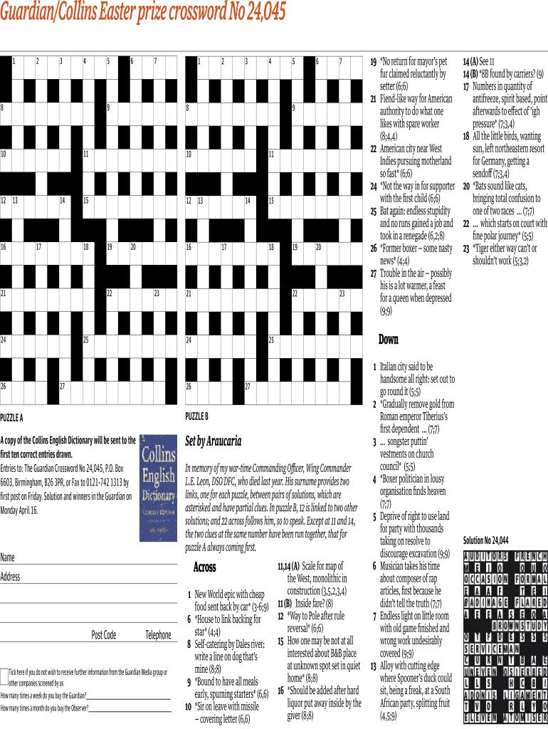 Guardiancollins Easter Prize Crossword No 24045 Fill Online - Printable Crossword Guardian