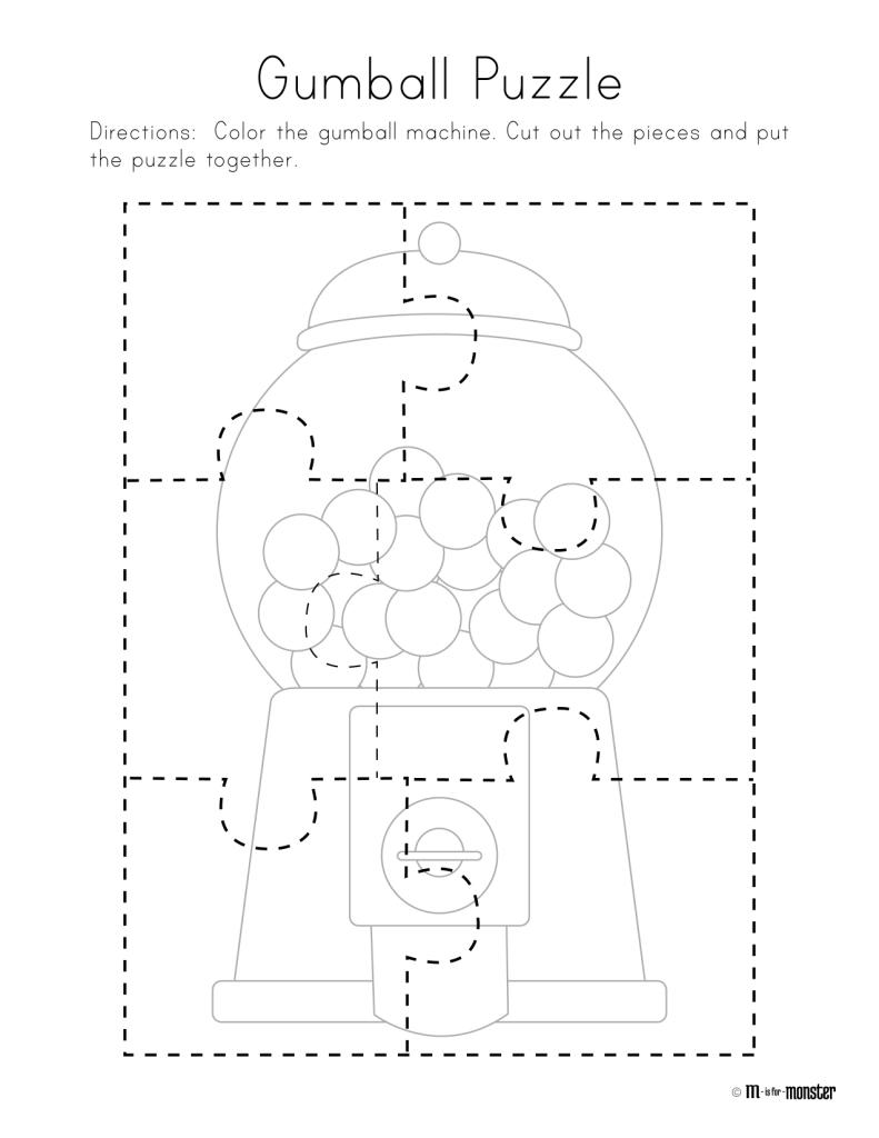 Gumball Puzzle Free Printable   Preschool/kindergarten   Free - Printable Toddler Puzzles