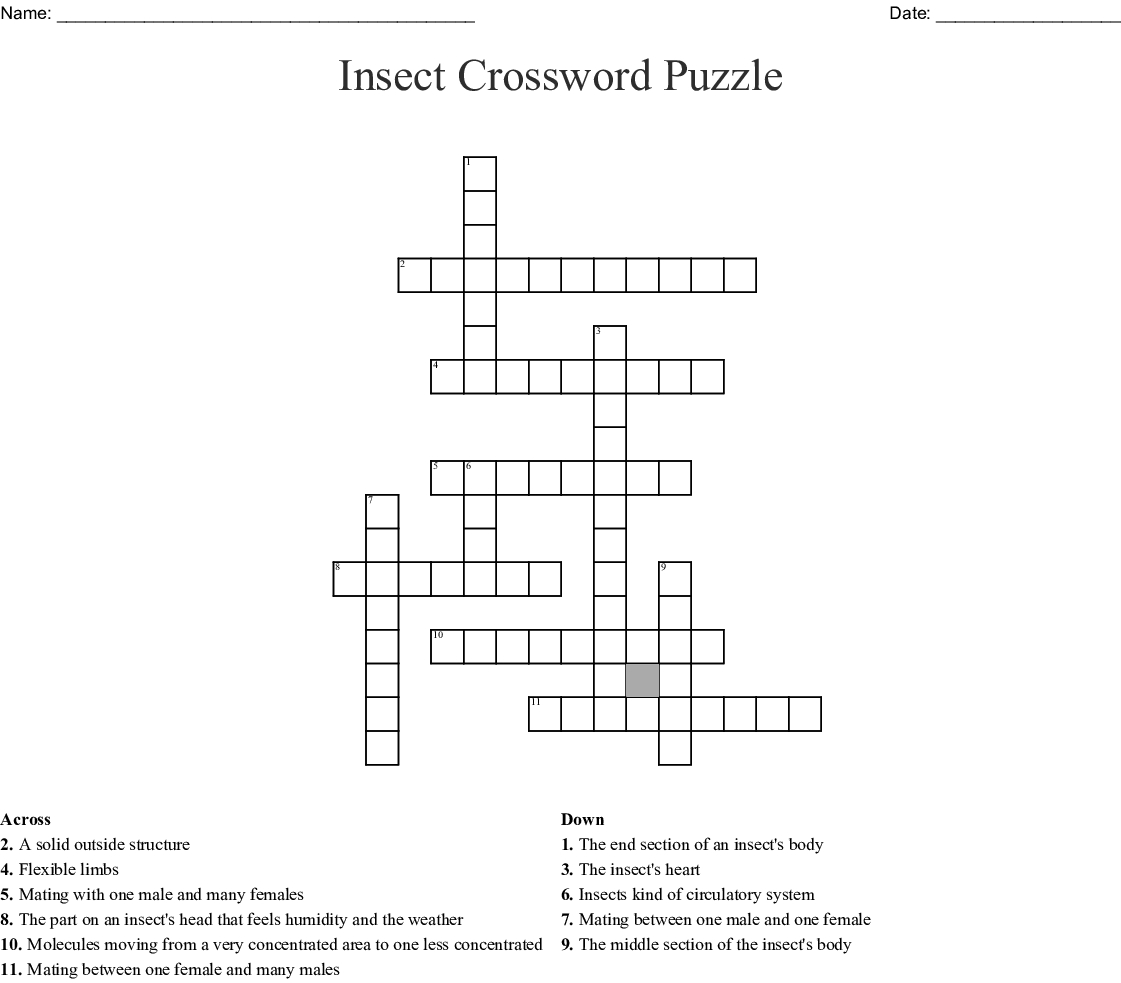 Hairy Insect Crossword - Insect Foto And Image In 2019 - Insect Crossword Puzzle Printable
