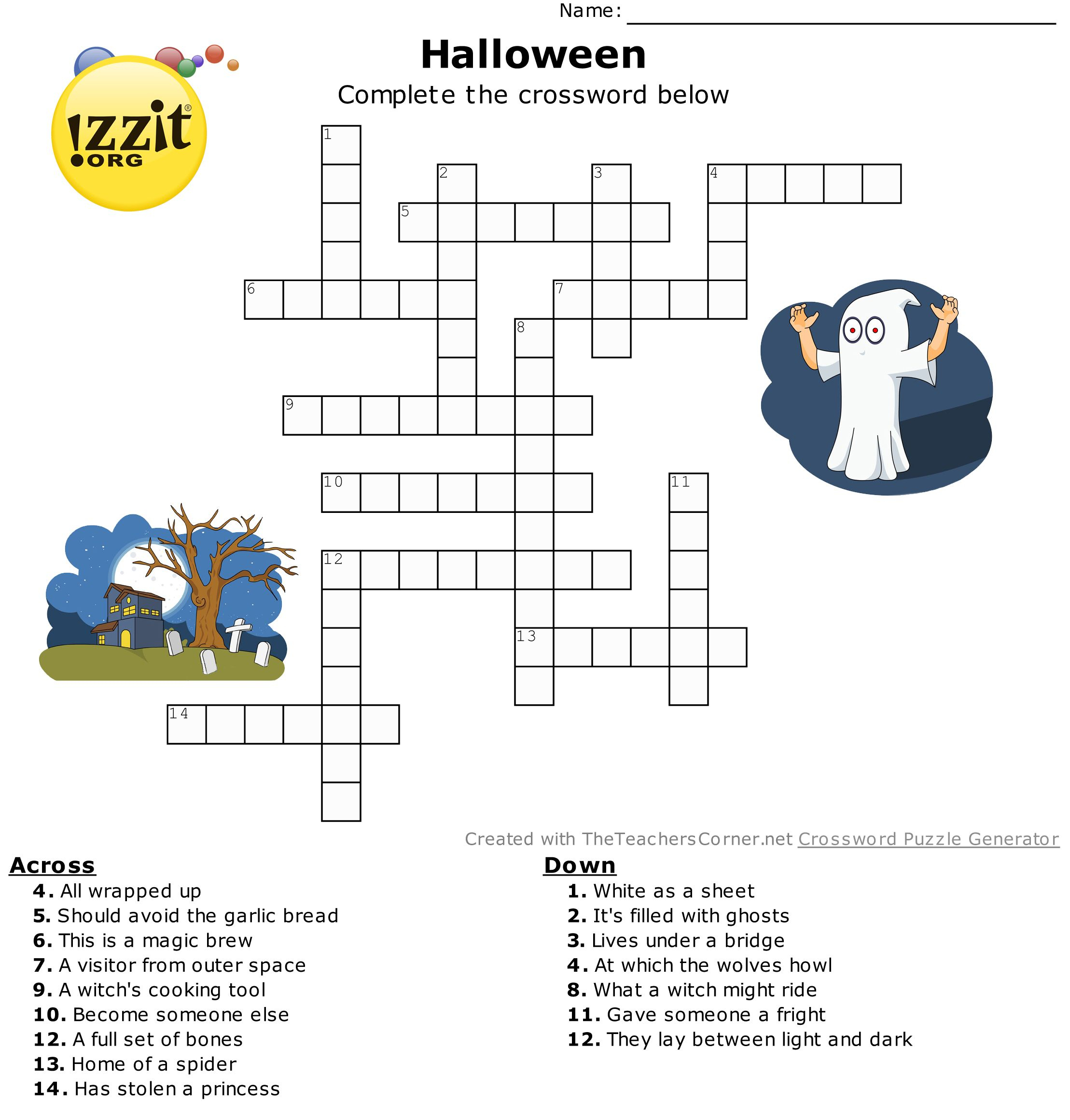 Halloween Crossword - Hard #happyhalloween 💀👻🎃 | Classroom - Hard Halloween Crossword Puzzles Printable