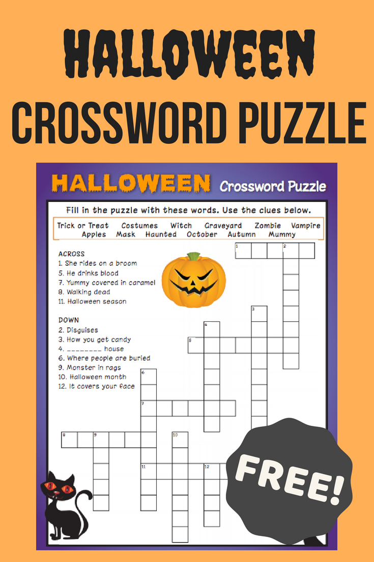 Halloween Crossword Puzzle #3 | Fall Fun | Halloween Crossword - Printable Crossword #3