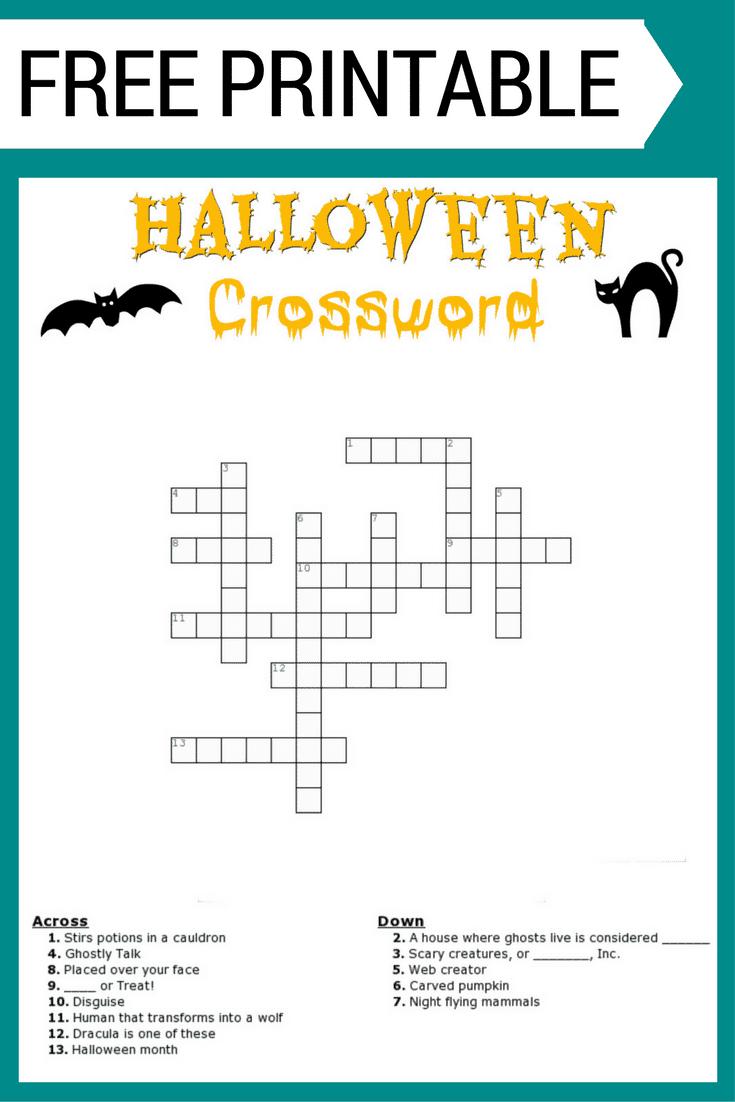 Halloween Crossword Puzzle Free Printable - Halloween Crossword Puzzle Printable