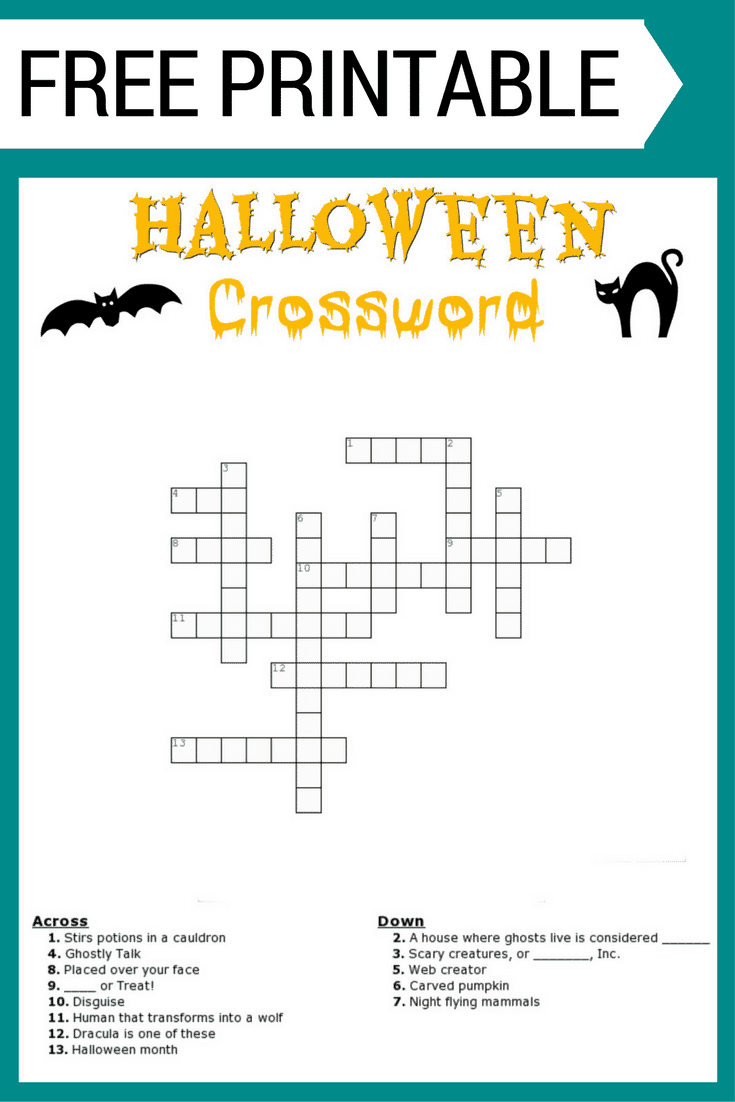 Halloween Crossword Puzzle Free Printable - Printable Halloween Crossword Puzzles Word Searches