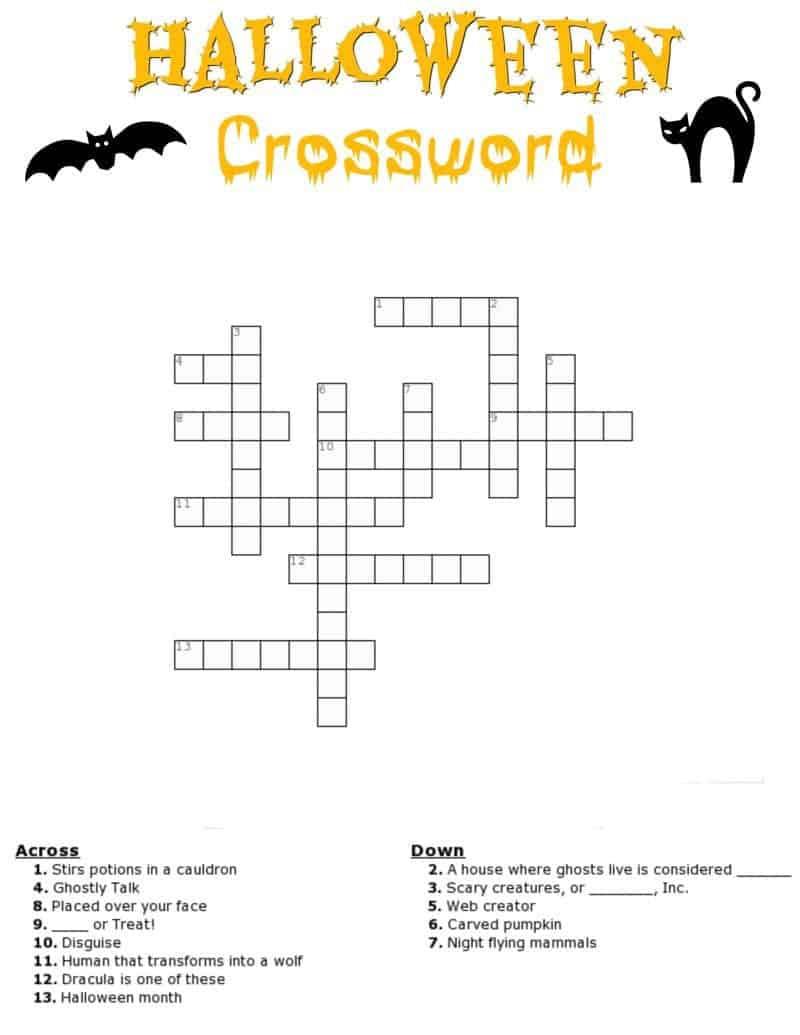 Halloween Crossword Puzzle Free Printable - Printable Halloween Crossword