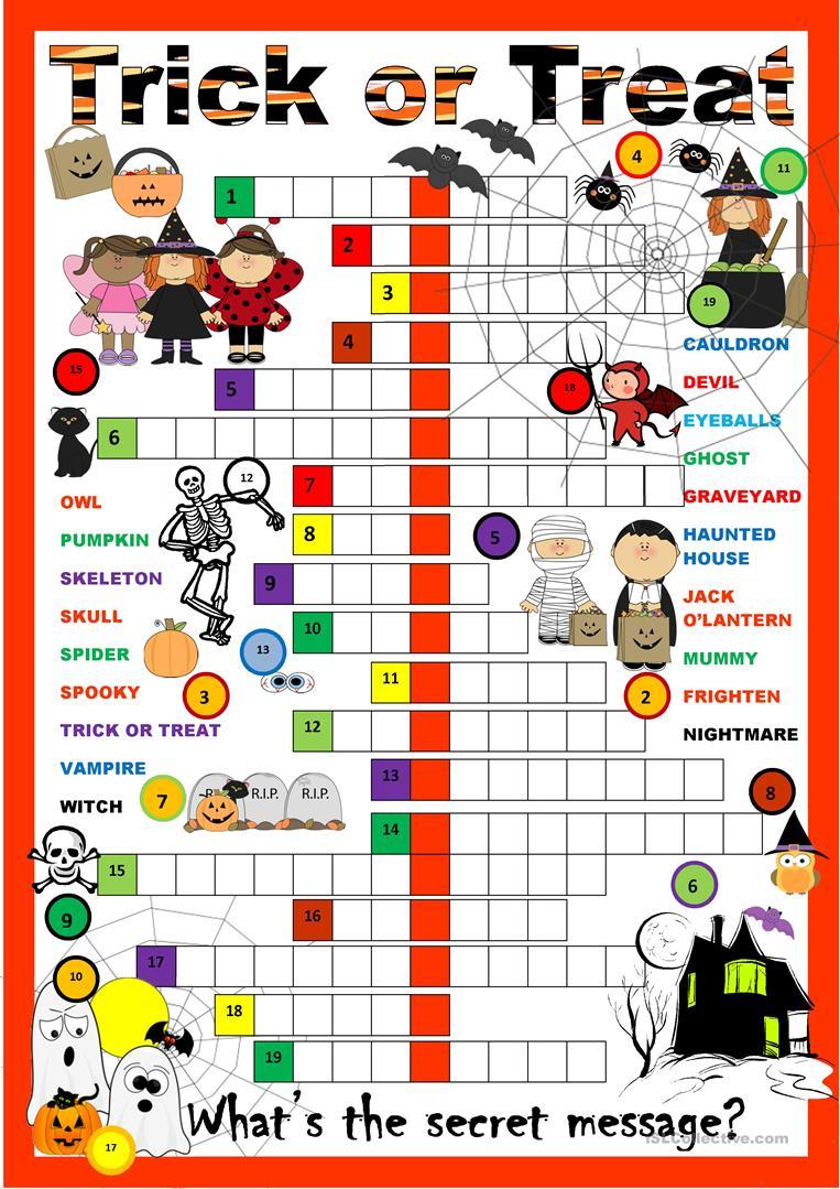 Halloween Crossword Worksheet - Free Esl Printable Worksheets Made - Free Printable Halloween Crossword Puzzles