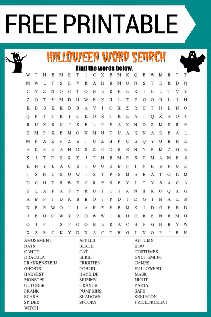 Halloween Word Search Printable Worksheet - Printable Halloween Puzzles For Middle School