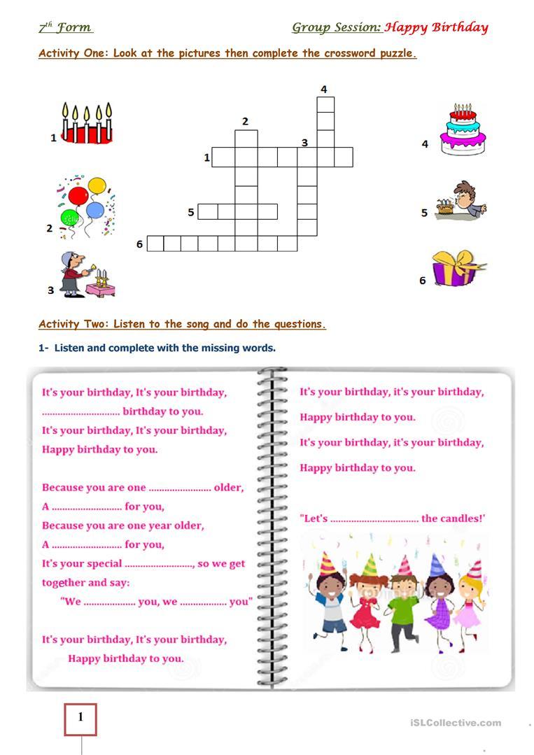 Happy Birthday Worksheet - Free Esl Printable Worksheets Made - Printable Birthday Puzzle