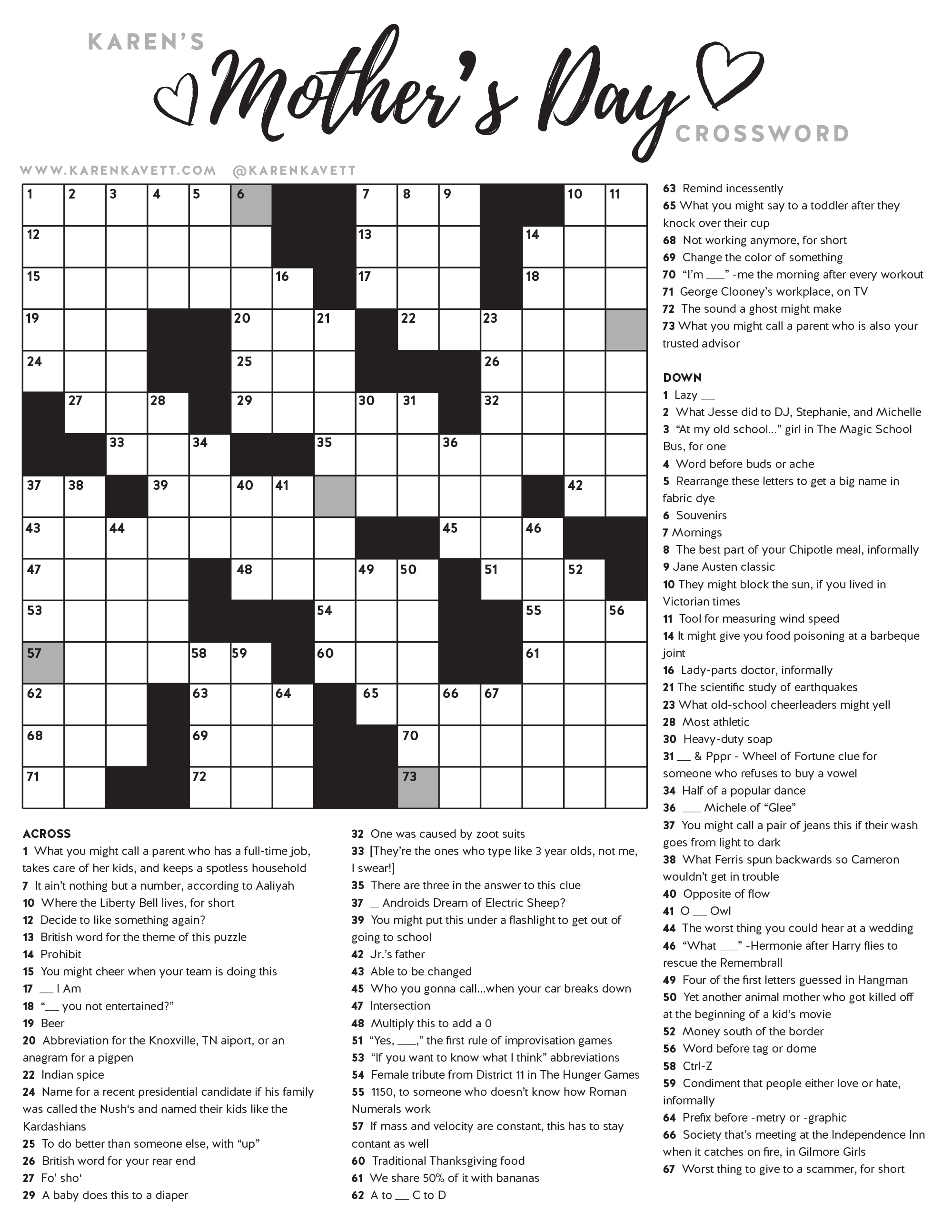 Happy Mother's Day Crossword Puzzle - Karen Kavett - Printable Crossword Of The Day