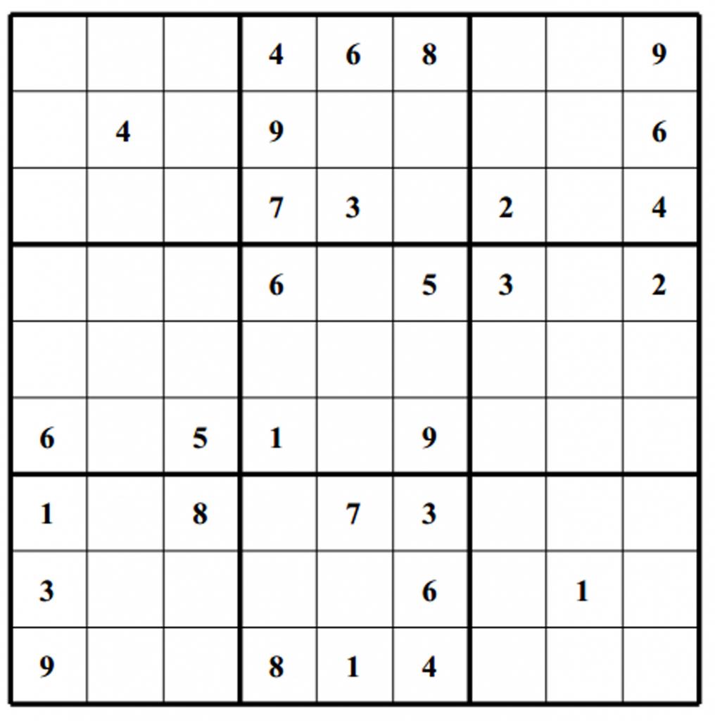 Hard Puzzle | Free Sudoku Puzzles | Printable Sudoku 4 Per Page - Printable Sudoku Puzzles 6 Per Page