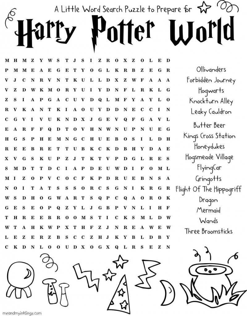 Harrypotter Free Word Search Puzzle And Planning Ideas For Universal - Free Printable Universal Crossword
