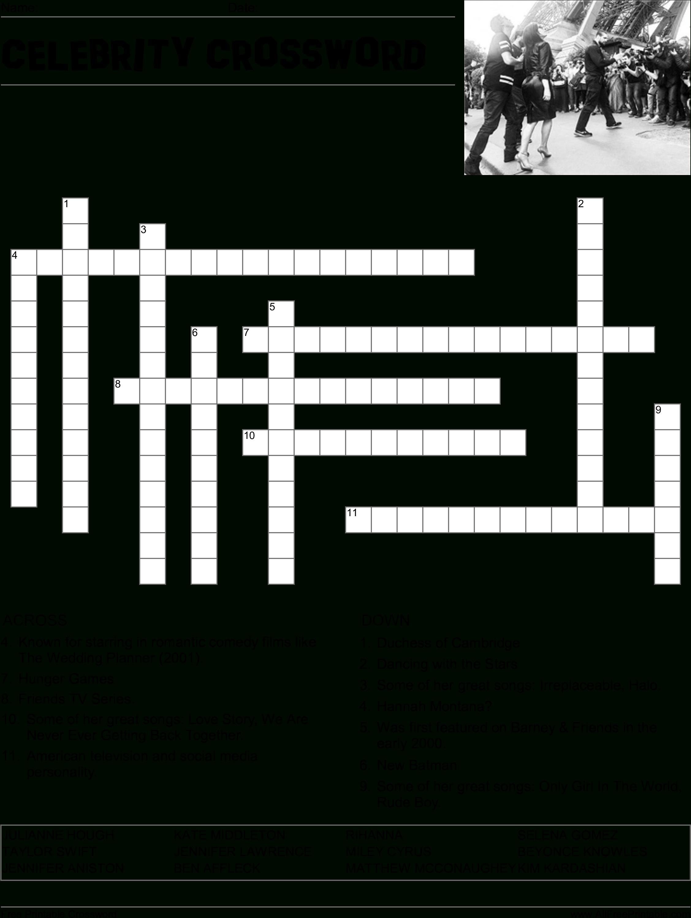 Hd Celebrity Crossword Puzzle Main Image Download Template - Word - Printable Crossword Puzzles Celebrities