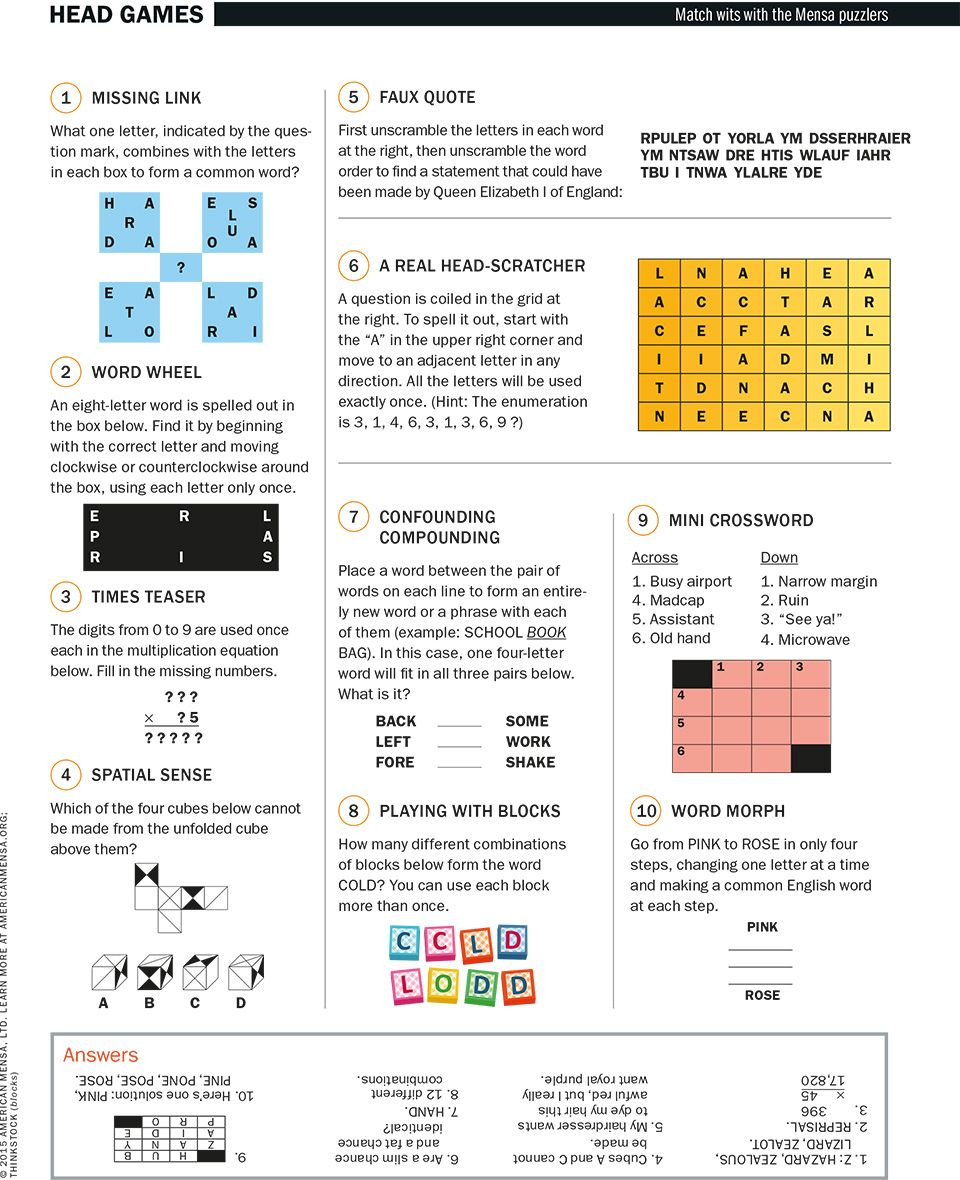 Head Games Match Wits With The Mensa Puzzlers - Scientific American - Printable Mensa Puzzles