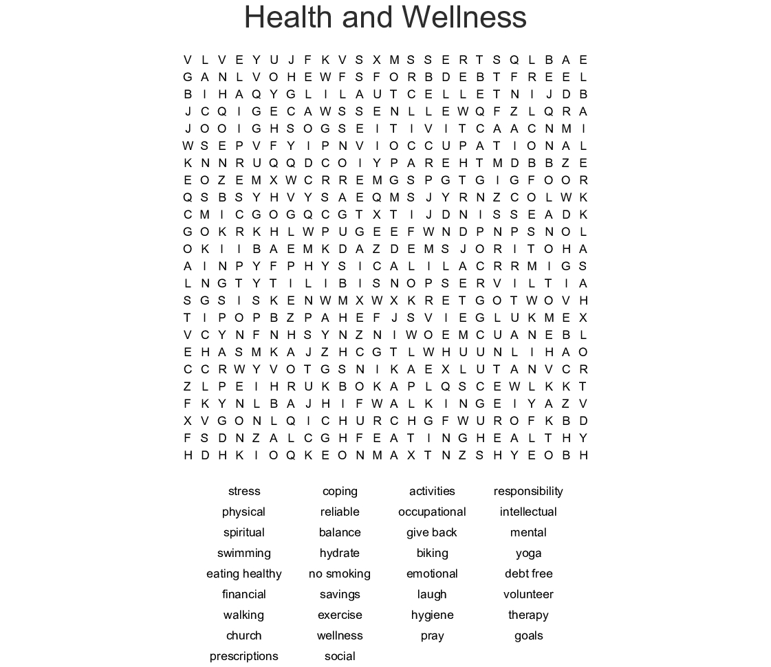 Health And Wellness Word Search - Wordmint - Printable Wellness Crossword Puzzles