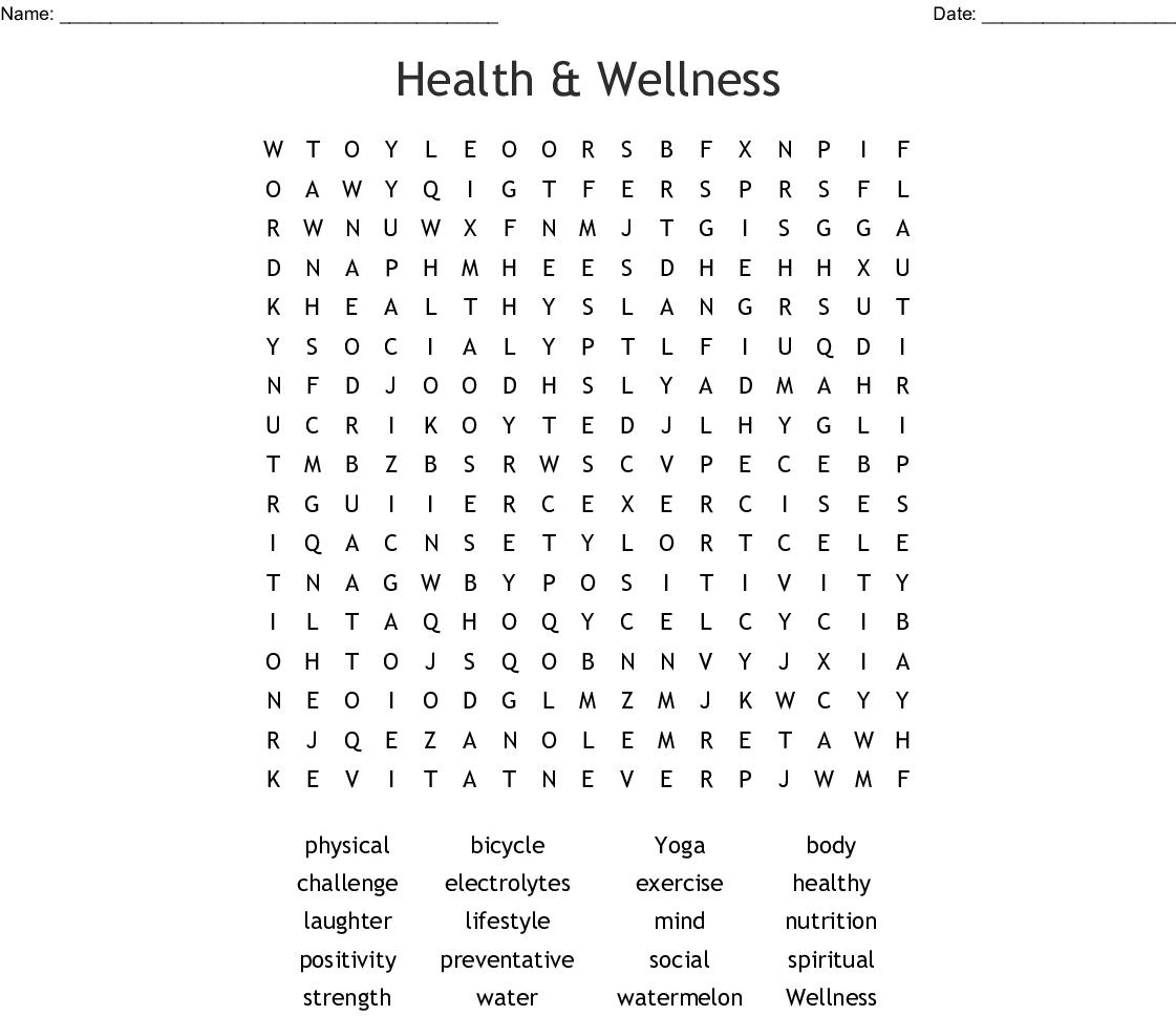 Health & Wellness Word Search - Wordmint - Printable Wellness Crossword Puzzles