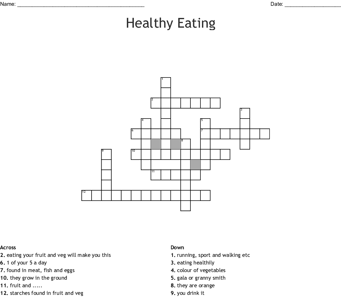 Healthy Eating Crossword - Wordmint - Printable Nutrition Crossword Puzzle