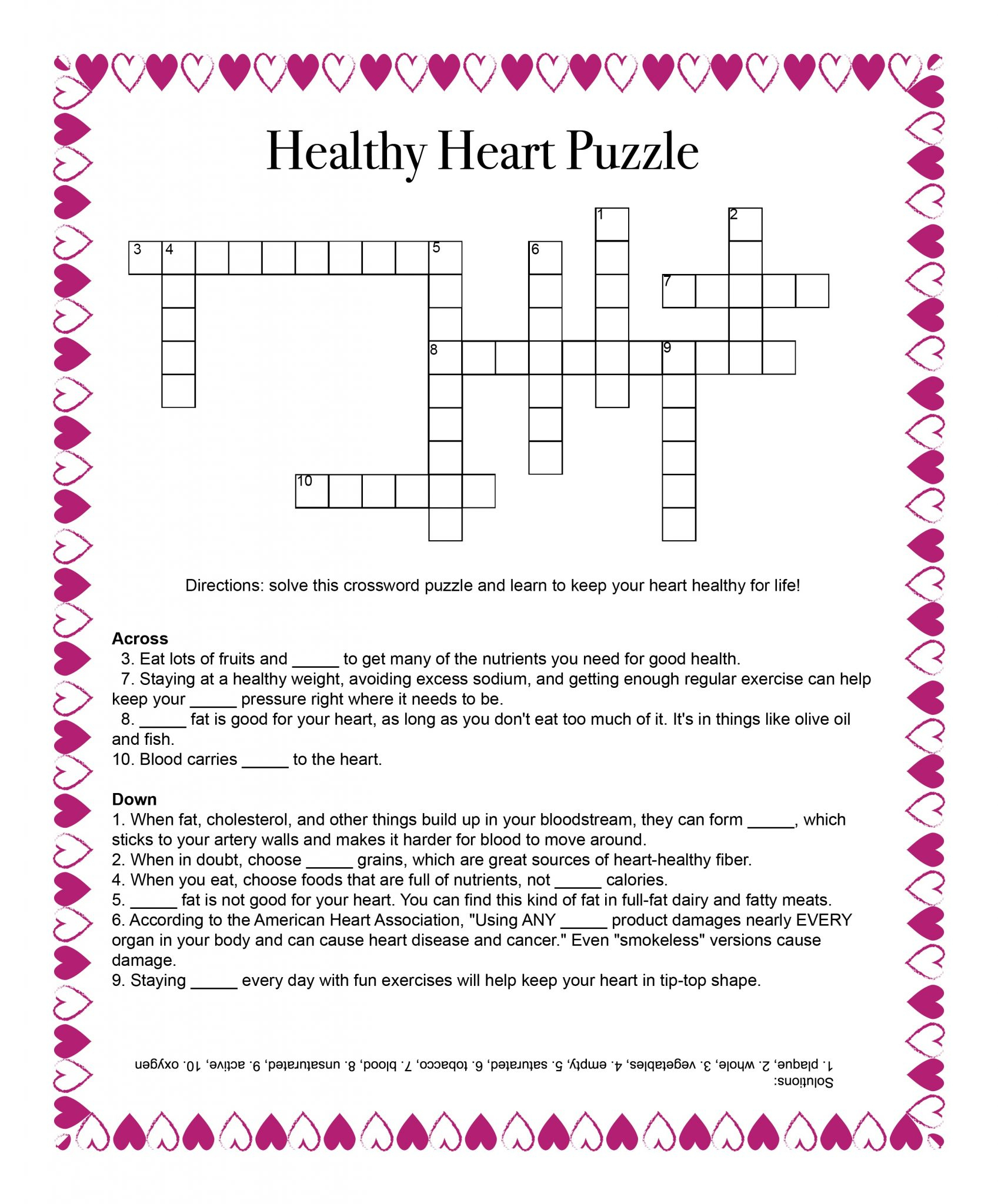 Healthy Heart Puzzle – Food And Health Communications - Free Printable Heart Puzzle
