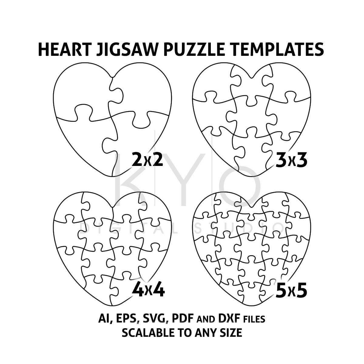 Heart Jigsaw Puzzle Templates Ai Eps Svg Pdf Dxf Files, Heart Shape - 2 Piece Puzzle Printable