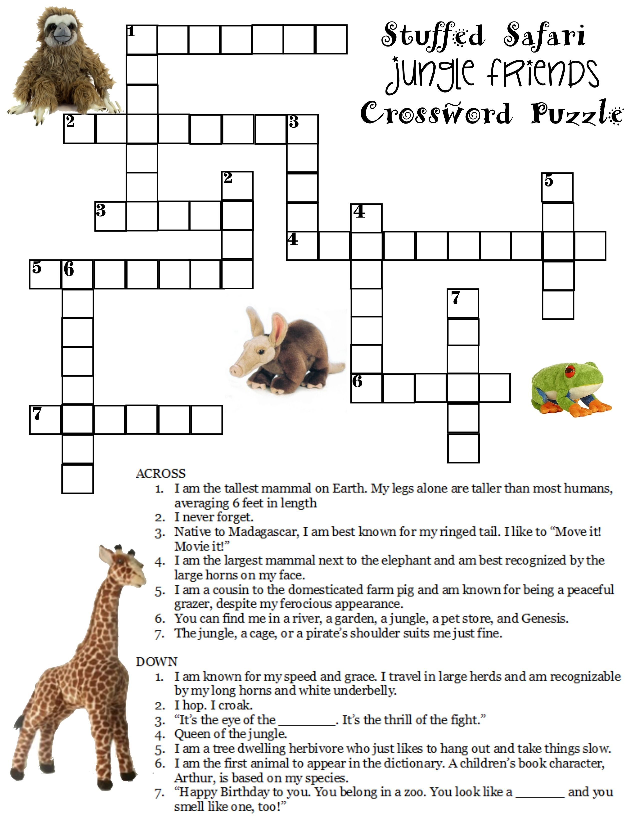 Here Is A Free Jungle Crossword Puzzle. Compliments Of Stuffedsafari - Wildlife Crossword Puzzle Printable