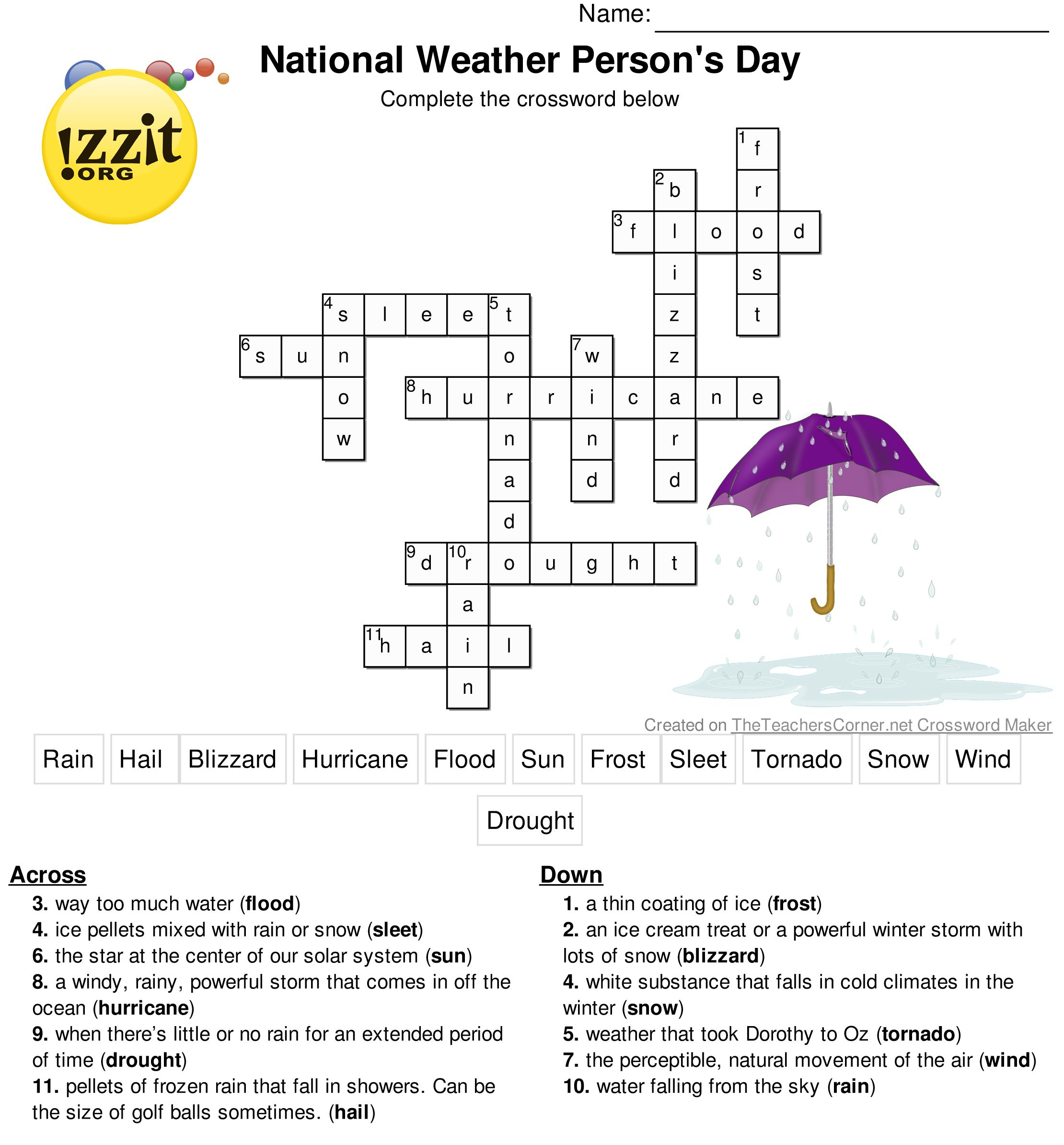Here Is The Answer Key For The Printable Crossword Puzzle For - Free Printable Crossword Puzzle #7 Answers