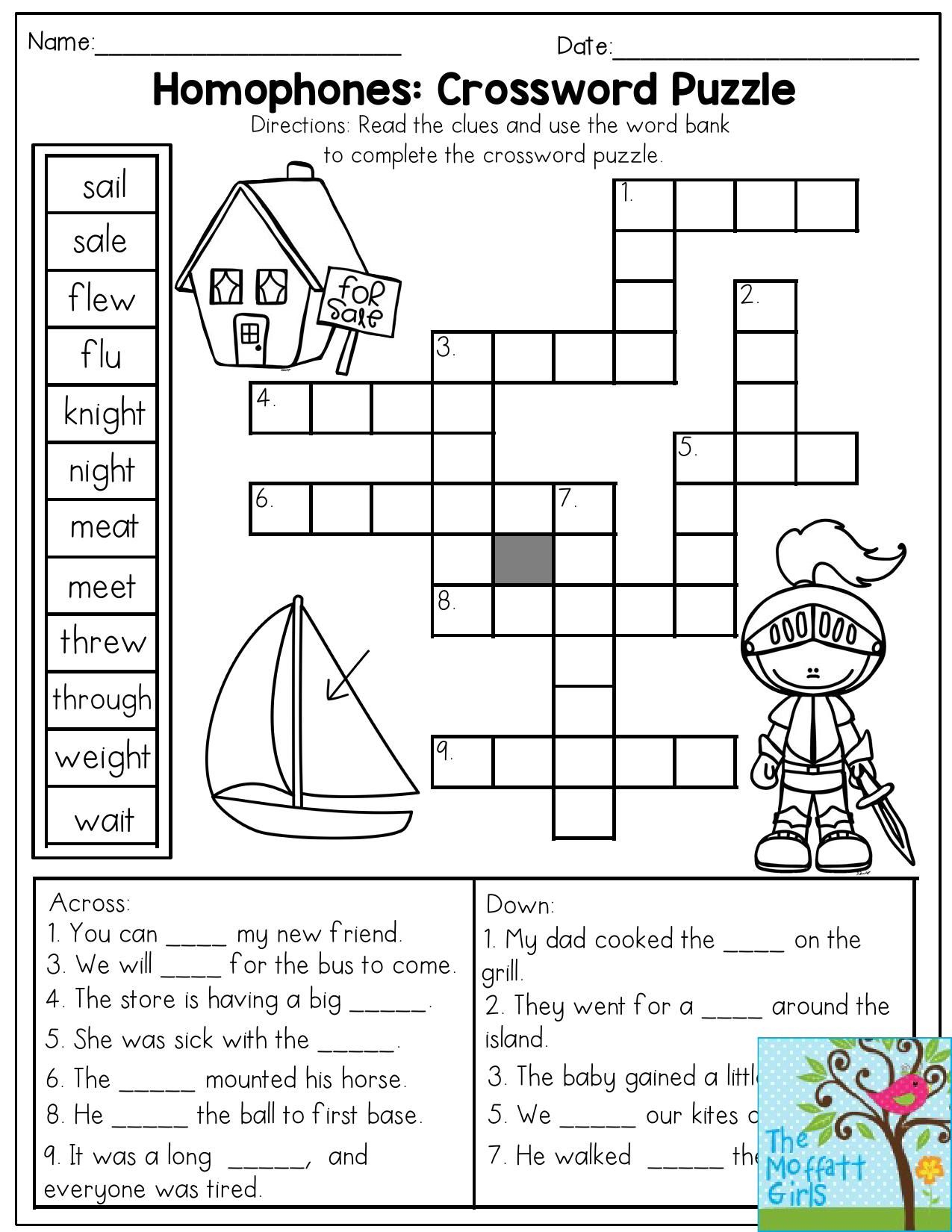 Homophones: Crossword Puzzle- Read The Clues And Use The Word Bank - Grade 1 Crossword Puzzles Printable
