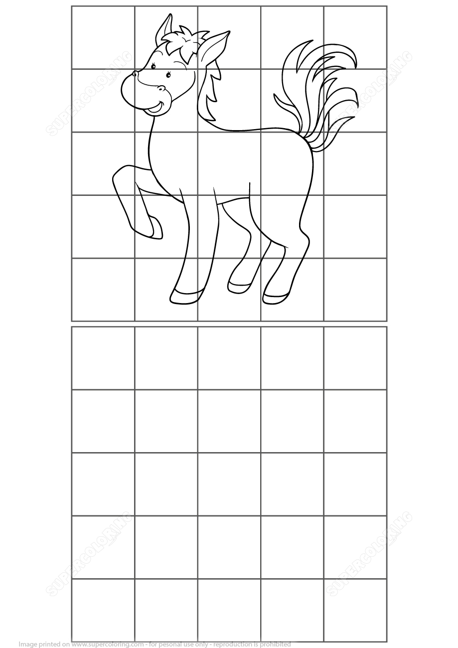 Horse Grid Puzzle | Free Printable Puzzle Games - Printable Horse Puzzle