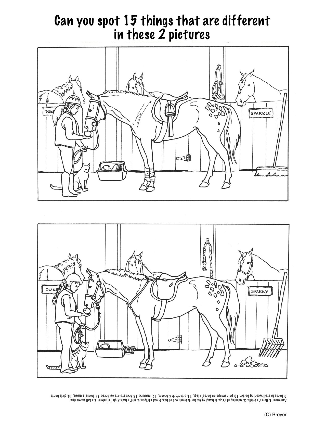 Horse Projects For Kids | Spot The Differences - Stable | Mind's Eye - Printable Horse Puzzles