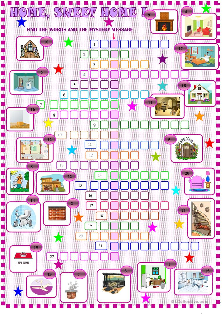 House:crossword Puzzle Worksheet - Free Esl Printable Worksheets - Printable House Puzzle