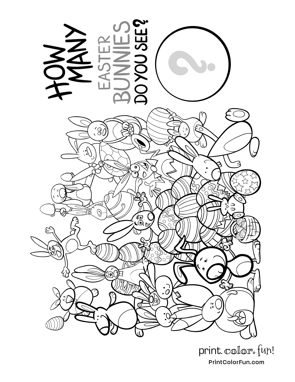 How Many Easter Bunnies Do You See - Puzzle Coloring Page - Print - Printable Bunny Puzzle