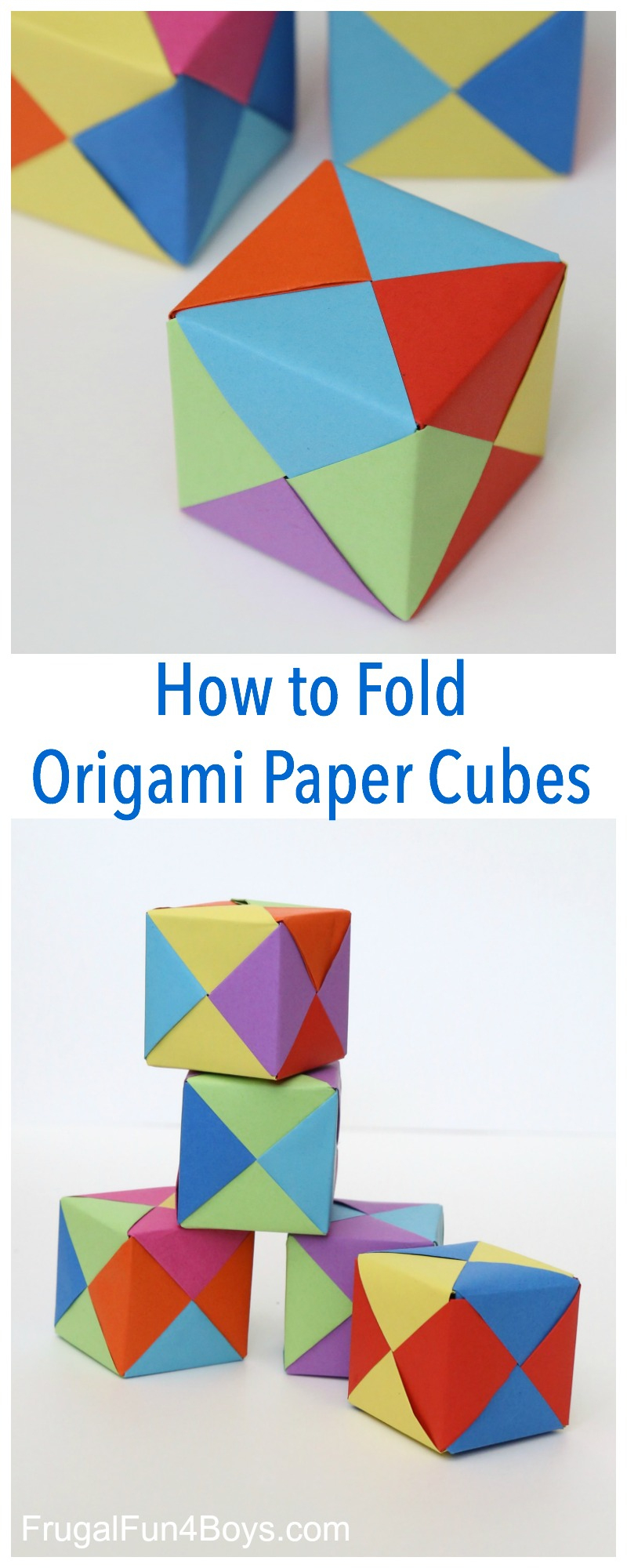 How To Fold Origami Paper Cubes - Frugal Fun For Boys And Girls - Printable Origami Puzzle