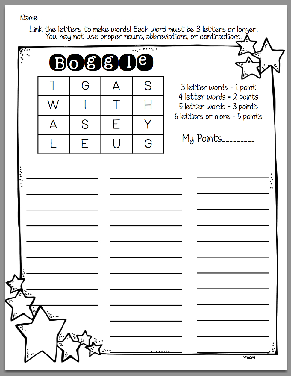 How To Use Boggle In Word Work (Sunny Days In Second Grade - Printable Boggle Puzzles