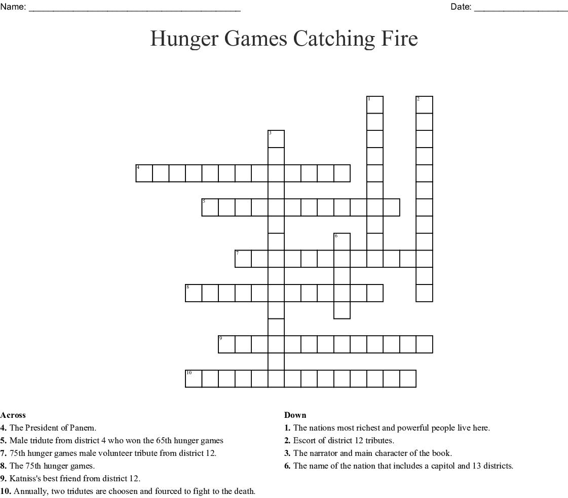 Hunger Games Catching Fire Crossword - Wordmint - Hunger Games Crossword Puzzle Printable