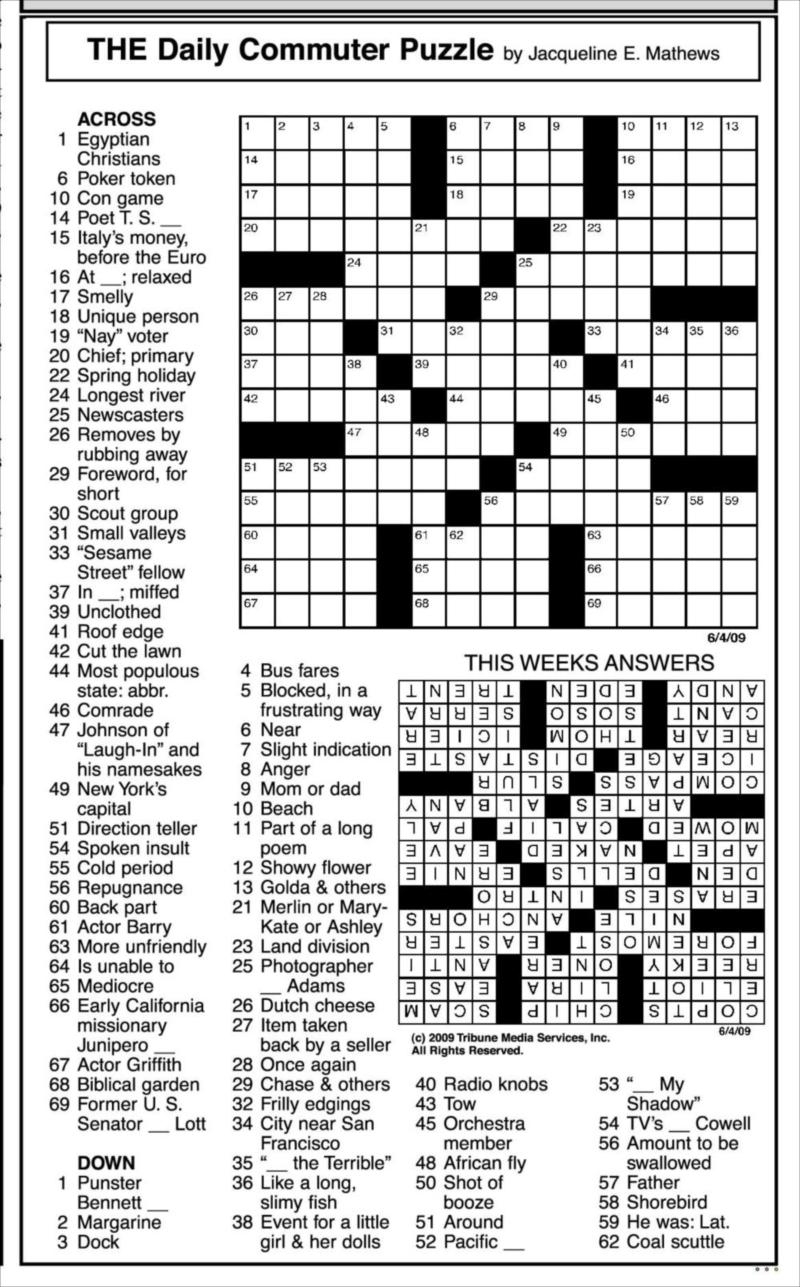 Images: Answers To Todays Crossword Puzzle, - Best Games Resource - Printable Commuter Crossword Puzzles
