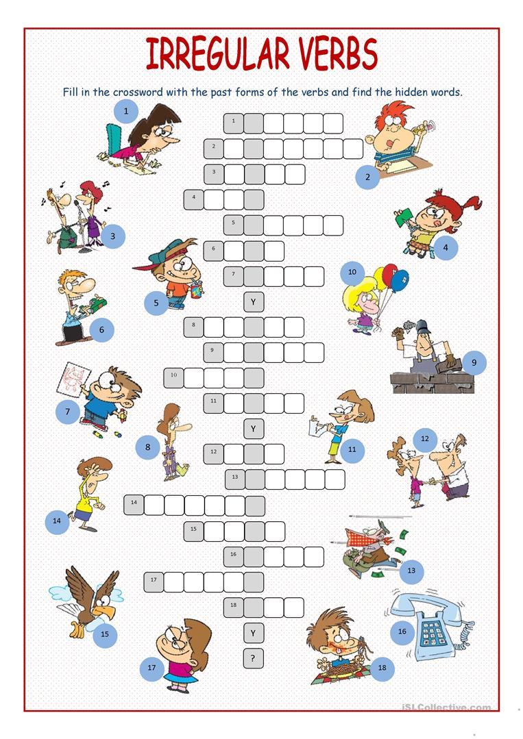 Irregular Verbs Crossword Puzzle Worksheet - Free Esl Printable - Verb Crossword Puzzles Printable
