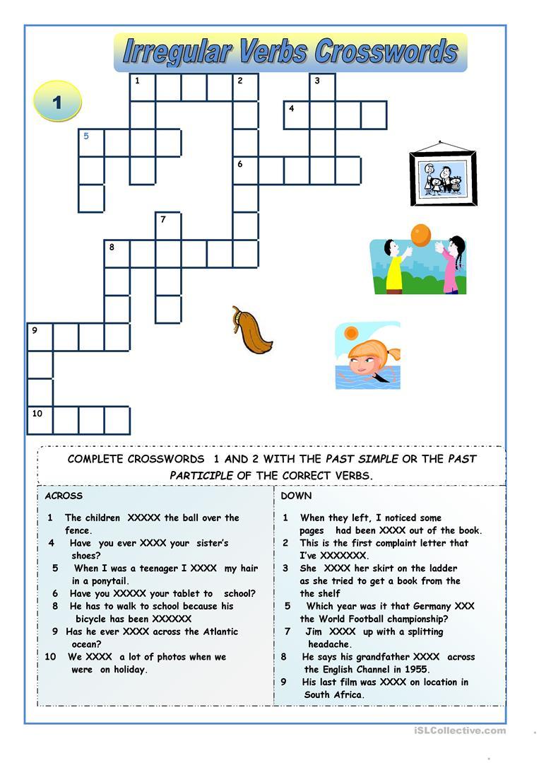 Irregular Verbs - Crossword Puzzles Worksheet - Free Esl Printable - Crossword Puzzles Printable On Tenses