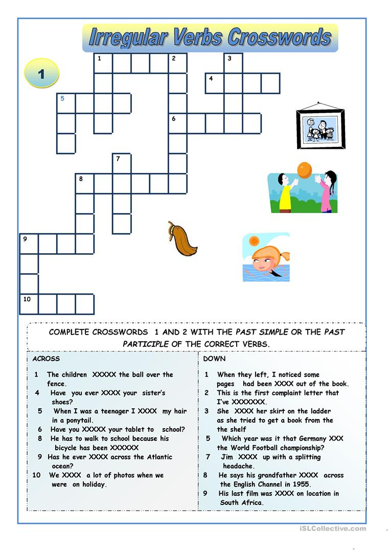 Irregular Verbs - Crossword Puzzles Worksheet - Free Esl Printable - Verbs Crossword Puzzle Printable