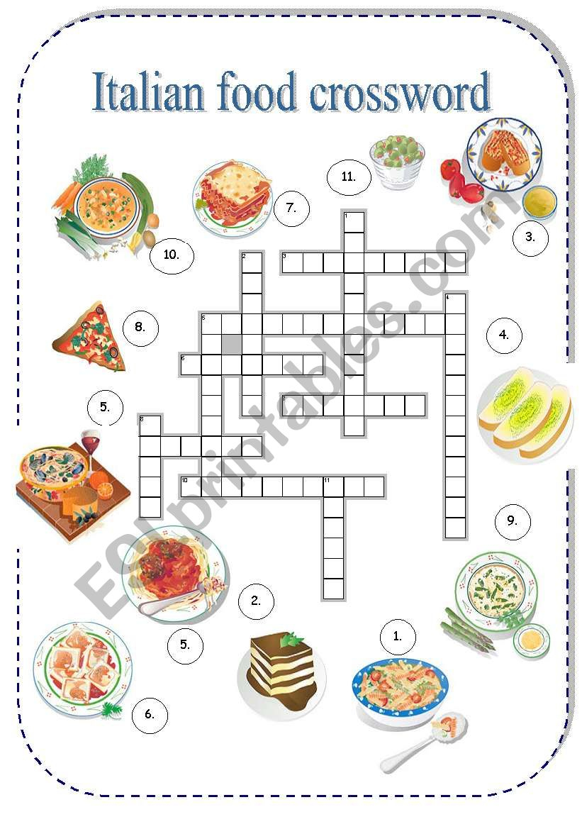 Italian Food Crossword - Esl Worksheetborna - Printable Crossword Puzzles In Italian