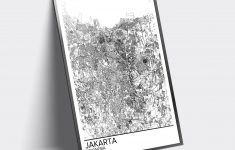 Jakarta Map Poster Print Wall Art, Indonesia Gift Printable Download   Print Puzzle Jakarta
