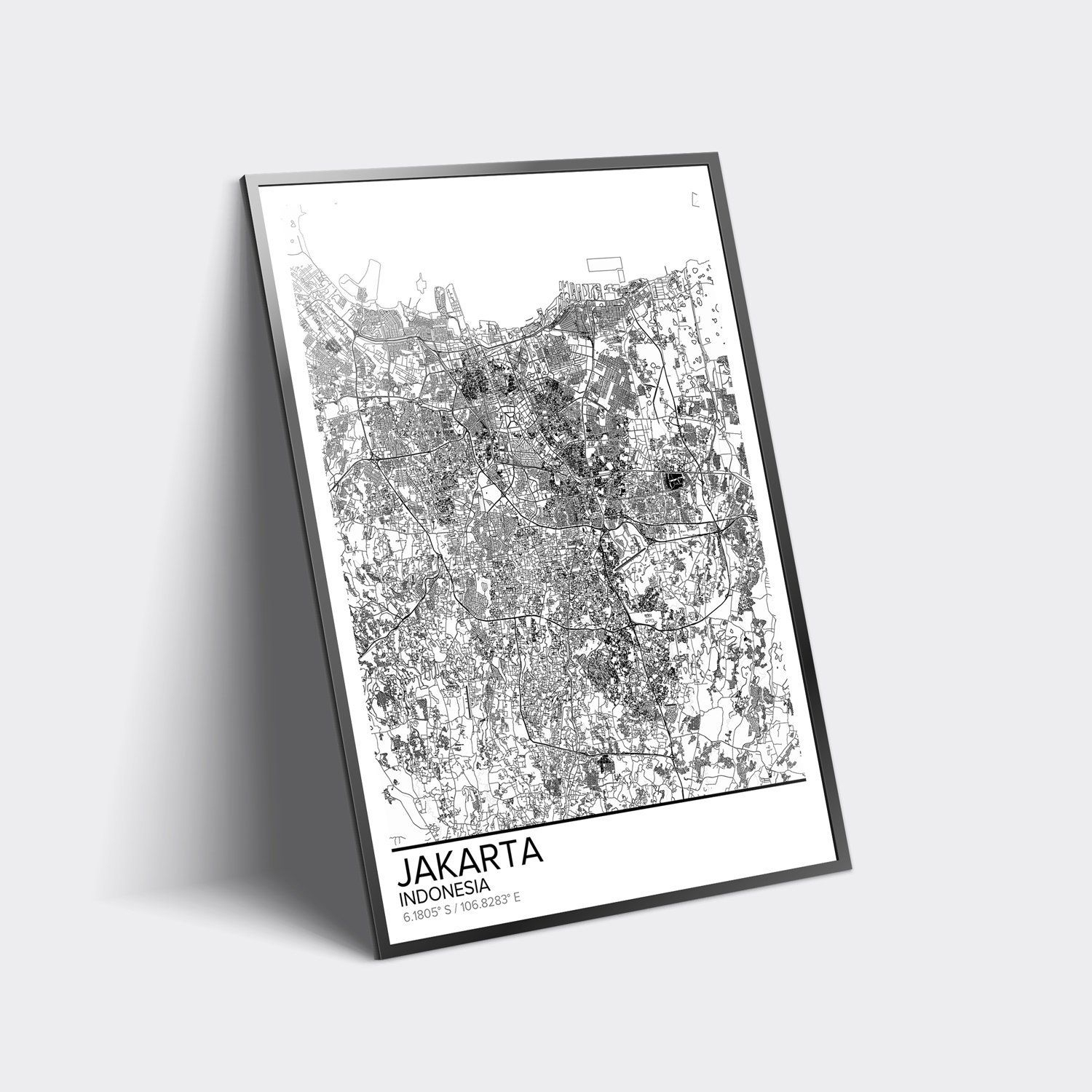 Jakarta Map Poster Print Wall Art, Indonesia Gift Printable Download - Print Puzzle Jakarta