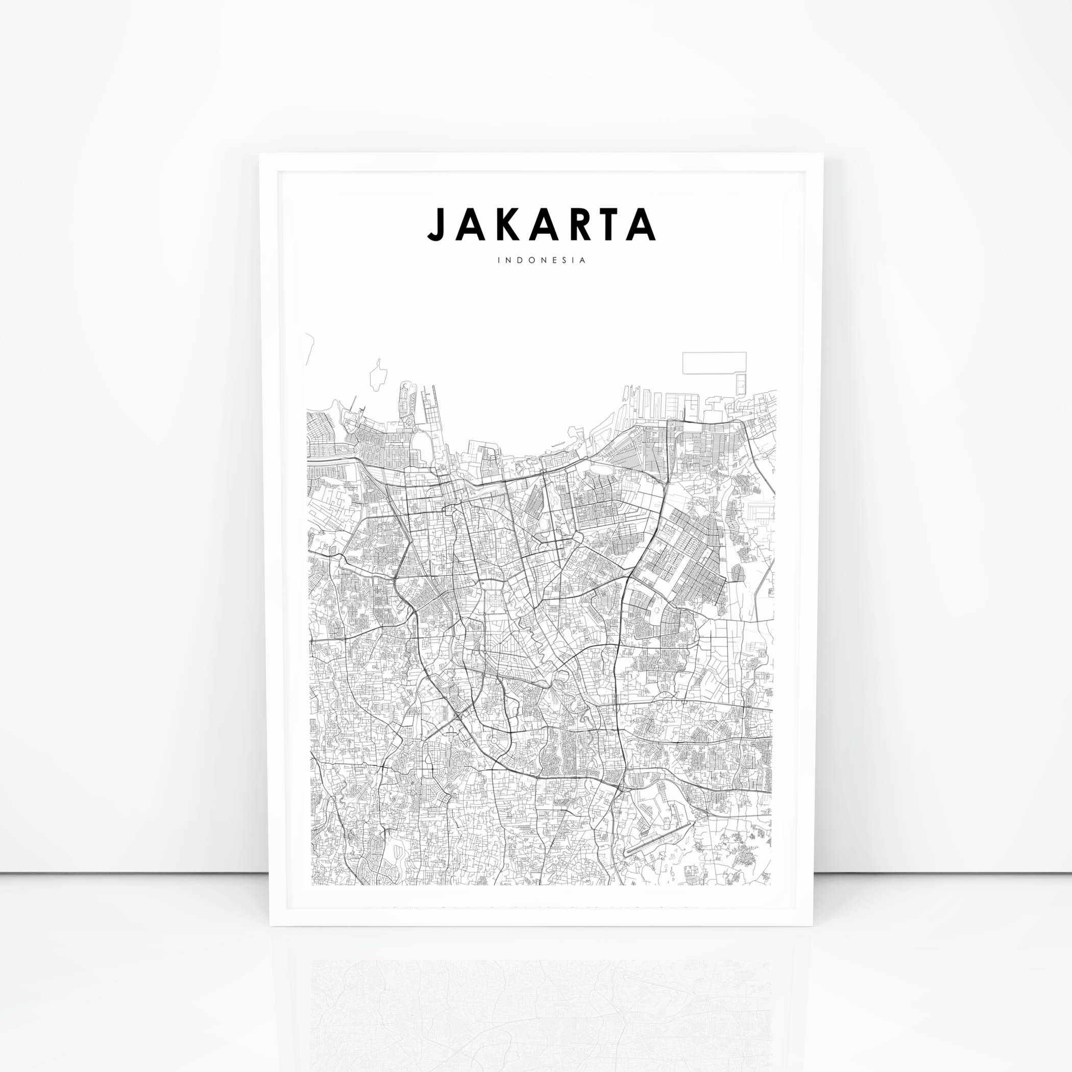 Jakarta Map Print Indonesia Map Art Poster City Street Road | Etsy - Print Puzzle Jakarta