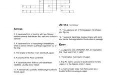 Japan Crossword Puzzle Worksheet   Volcano Crossword Puzzle Printable