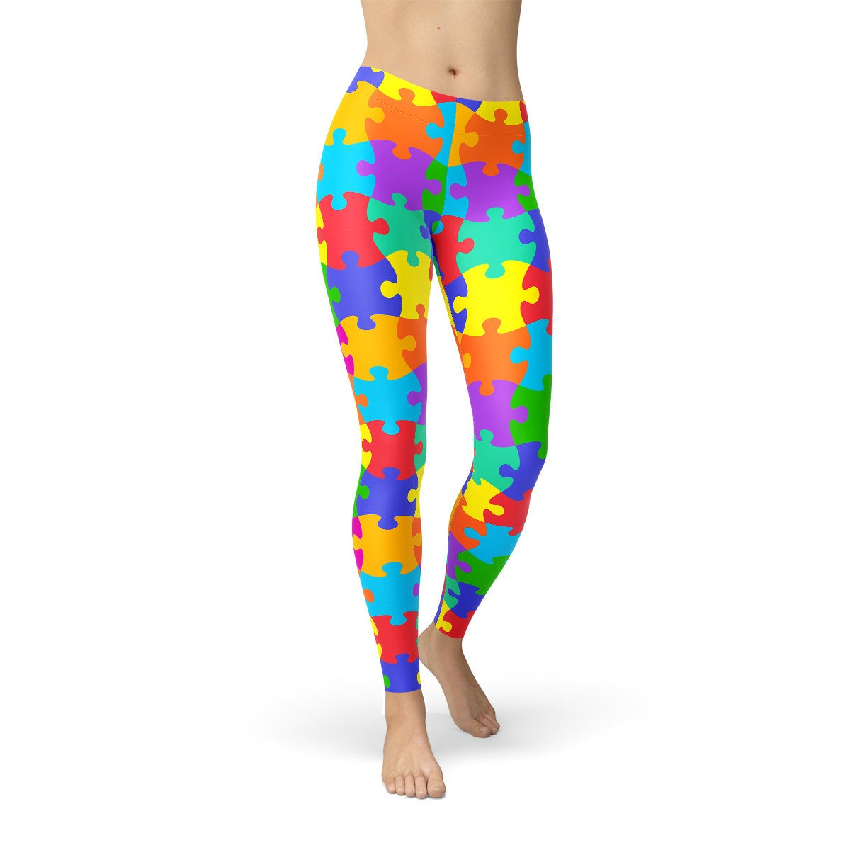 Jigsaw Puzzle Rainbow Leggings For Women All Over Print | Etsy - Puzzle Print Leggings