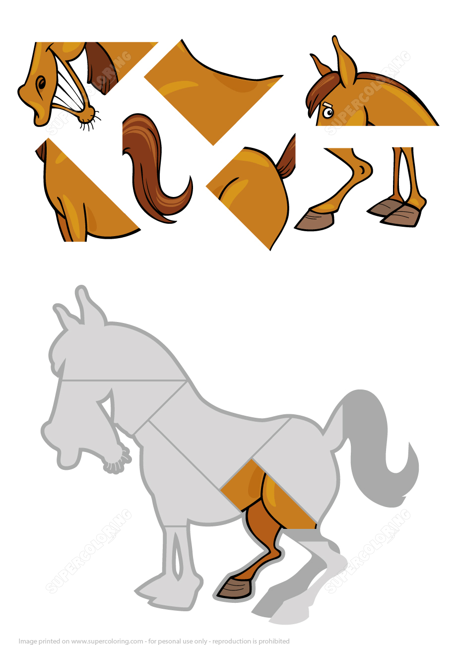 Free Horse Coloring Pages - Printable Horse Puzzles ...